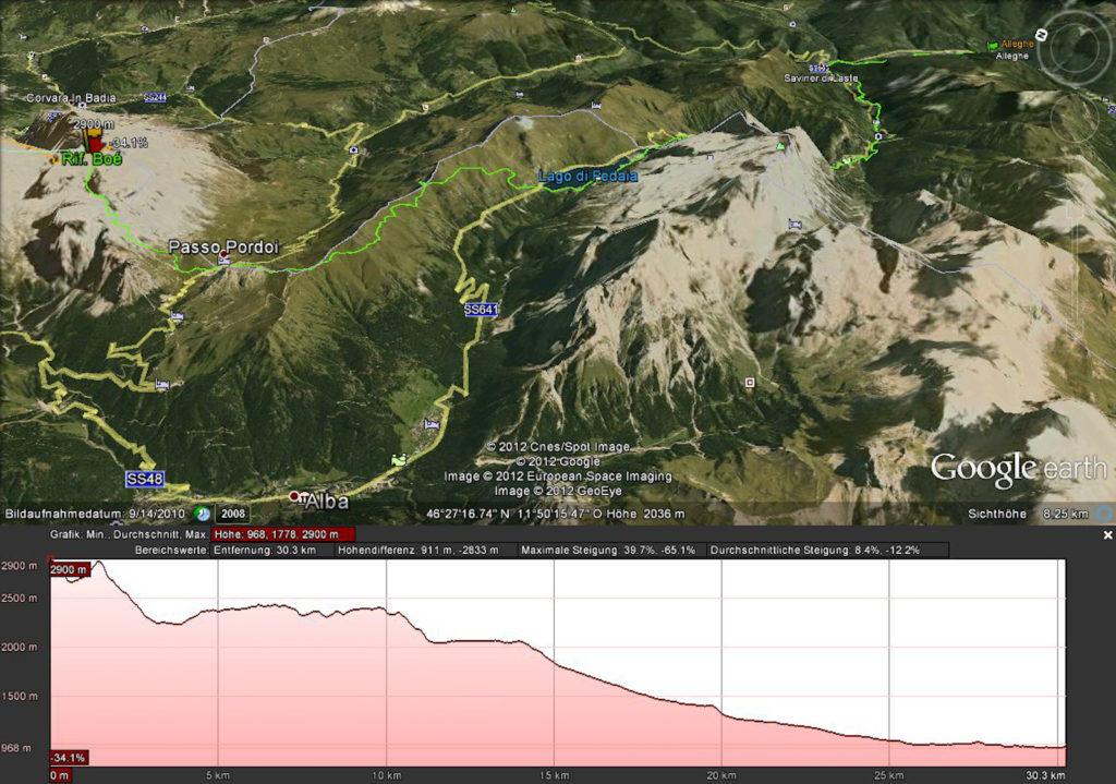 Route Rifugio Boé -> Alleghe